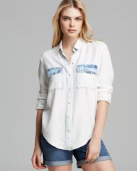 Two By Vince Camuto Bleached Chambray Shirt - White