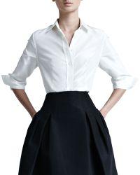 Carolina Herrera Silk Taffeta Shirt - White 8 - Lyst