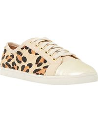 Dune Ennis Animal-Print Leather Trainers - Lyst