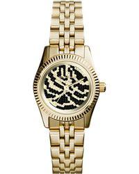 Michael Kors Petite Golden Stainless Steel Lexington Three-hand Glitz Watch - Lyst