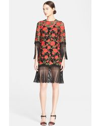 Dolce & Gabbana Floral Embroidered Minidress With Macrame Fringe - Lyst