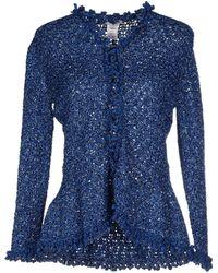 Oscar de la Renta Flared Tweed Cardigan blue - Lyst
