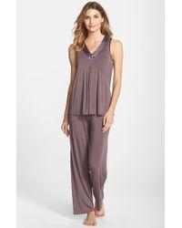 Midnight By Carole Hochman Charmeuse Trim Jersey Pajamas - Lyst