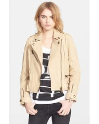 Burberry Brit 'Sandfield' Leather Moto Jacket - Lyst