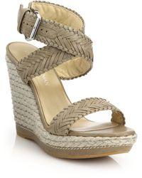 Stuart Weitzman | Elixir Braided Leather & Jute Wedge Sandals | Lyst
