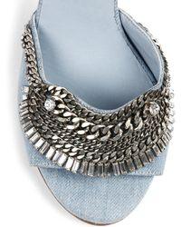 DANNIJO Rina Crystal-Trimmed Denim Sandals - Blue