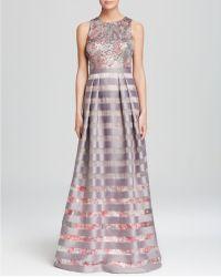 Kay Unger Gown - Sequin Top & Stripe Skirt Ball - Multicolour