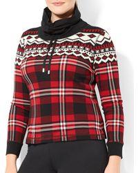 Ralph Lauren Lauren Plus Plaid Waffle Knit Pullover - Lyst