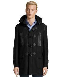 Andrew Marc - Black Textured Plaid Wool 'pierce' Toggle Coat - Lyst