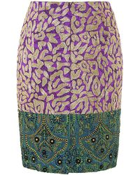 Oscar de la Renta Patchwork Jacquard Embroidered Skirt - Lyst