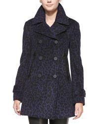 Rebecca Taylor Leopardprint Felt Pea Coat - Lyst