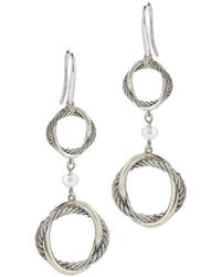 David Yurman Pre-owned Ss Infinity Double Drop Earrings with Pearls - Lyst