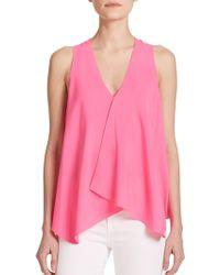 Ramy Brook Hannah Asymmetrical Stretch Silk Top pink - Lyst
