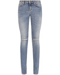 Saint Laurent Ripped Skinny Jeans - Lyst
