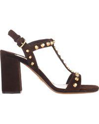 Prada Studded T-Strap Sandals - Lyst