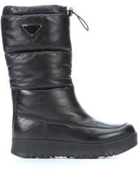 Prada Sport Black Quilted Leather 'Bomber' Platform Snow Boots - Lyst