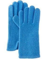 Portolano Cashmere Honeycomb-Knit Glove blue - Lyst