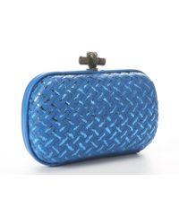 Bottega Veneta Bluette Intrecciato Leather Knot Clutch - Lyst