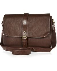 River Island Brown Flapover Satchel Bag - Lyst