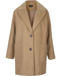 Topshop Drop Shoulder Boyfriend Coat   - Lyst
