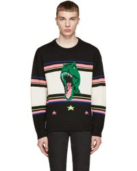 Saint Laurent | Black And Fluorescent Dinosaur Sweater | Lyst
