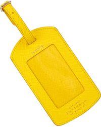 Smythson Panama Leather Luggage Tag - Yellow