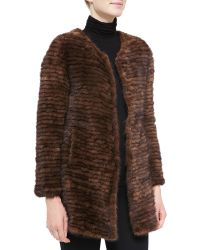 Belle Fare Layered Mink Fur Coat - Lyst