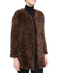 Belle Fare Layered Mink Fur Coat - Lyst