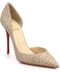 Christian Louboutin Iriza Snake-Embossed Leather D'Orsay Pumps - Lyst