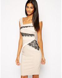 Lipsy Wrap Lace Pencil Dress - Lyst