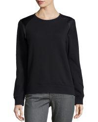 Vince Black Faux-Leather-Trim Sweatshirt - Lyst