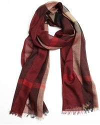 Burberry Claret Check Virgin Wool and Silk Blend Scarf - Lyst