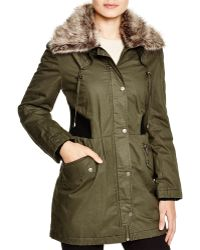 DKNY Faux Fur Trim Anorak - Green