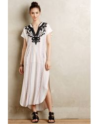 Twelfth Street Cynthia Vincent Amate Embroidered Caftan beige - Lyst