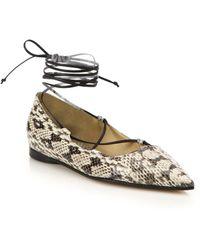 Michael Kors | Kallie Snakeskin & Leather Ankle-wrap Flats | Lyst