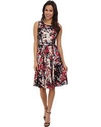 Adrianna Papell Block Print Pleated Dress - Lyst