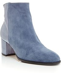 Carmelinas Ana Ankle Boot In Jean Suede And Blue Patent Saffiano Leather - Lyst