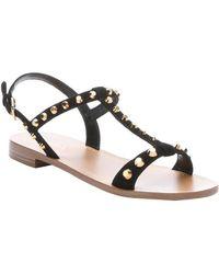 Prada Black Suede Studded T-Strap Sandals - Lyst