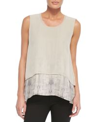 Elie Tahari Astor Cropped Perforated Jacket  Rudy Sleeveless Two-tiered Blouse - Lyst