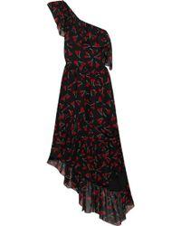 Saint Laurent One-Shoulder Printed Silk-Georgette Dress - Lyst