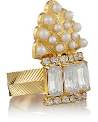 Elizabeth Cole - Adeline Gold-Plated, Swarovski Crystal And Glass Pearl Ring - Lyst