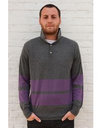 Simon Spurr Cashmere Purple Stripe Longsleeve Polo multicolor - Lyst