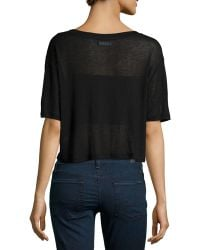 F.t.b By Fade To Blue - Short-sleeve Cropped Knit Tee - Lyst