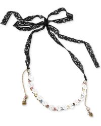 Betsey Johnson Goldtone Crystal Flower and Ribbon Frontal Necklace - Lyst