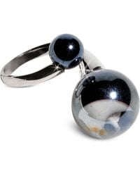 Antica Murrina - Optical - Silver Stainless Steel Ring W/black Murano Glass Beads - Lyst