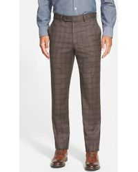 Bensol - Trim Fit Plaid Wool Pants - Lyst
