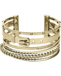 Michael Kors Goldtone Mixed Chain Cuff Bracelet - Lyst