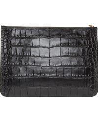 Alexander McQueen Black Croc Embossed Pouch - Lyst