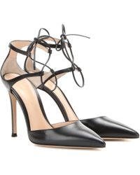 Gianvito Rossi Lace-Up Leather Pumps black - Lyst