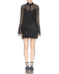 Thakoon Polka Dot Chiffon Pleat Peplum Shirt Dress black - Lyst